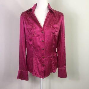 960d64a1308d7 Cache Pink Silk Button Down Blouse